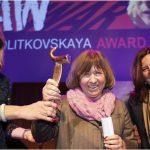RAW in WARhonoured Binalakshmi Nepram and Svetlana Alexievich with the2018 Anna Politkovskaya Award