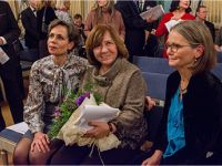 With Professor Sara Danius, Permanent Secretary of the Swedish Academy (left) & Kajsa Öberg Lindsten, Alexievich's Swedish translator (right) © Photo M. Kabakova